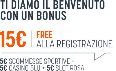 PER TUTTI Bonus Registrazione 15€ Free