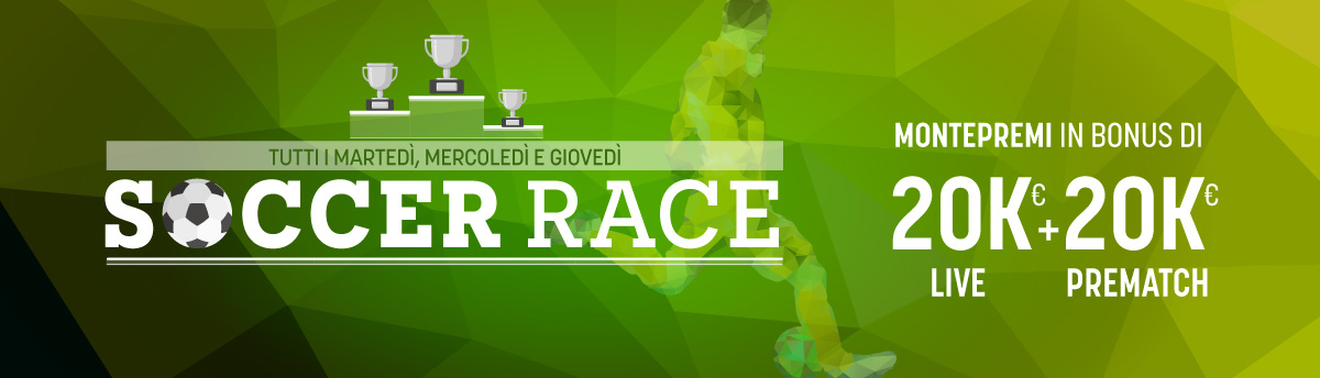 Due Race sul Calcio dal martedì al venerdì, 40.000 euro in bonus