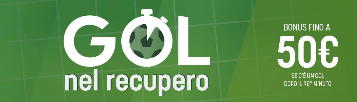 Bonus con gol nel recupero, sabato 7 e domenica 8 novembre.